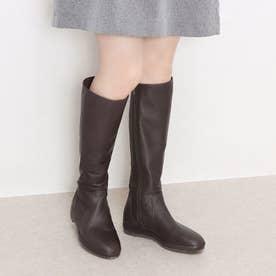 【防水&防滑】フラットソールロングブーツ (ダークブラウン)