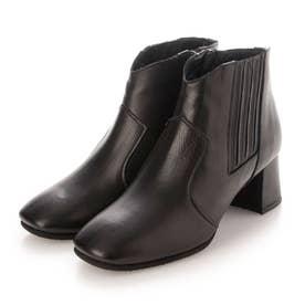 【3E】ウエスタンタイプチャンキーヒールショートブーツ (ブラック)