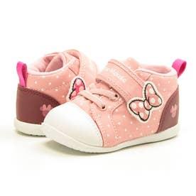 ミッキー ミニー ミッキーマウス ディズニー Disney ベビー キッズ スニーカー マジックテープ (ピンク)