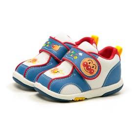 アンパンマン スニーカー 靴 ベビー キャラクター 男の子 女の子 軽量 キッズつま先ゆったり 通園 幼稚園 (ブルー)