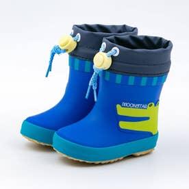 ベビー キッズ 男の子 女の子 子供  動物 長靴 レインブーツ スノーブーツ ワニ ネコ MS WB019R (ブルー)