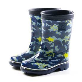 キッズ ジュニア 長靴 雨靴 ブーツ レインブーツ MS RBC65 カーキ ネイビー サックス ピンク 男の子 女の子 (ネイビー)