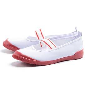 上履き 上靴 ゴムバンド 男の子 女の子 子供 キッズ 中学校 小学校 スクール 幼稚園 ビニールバレー (シロ/レッド)