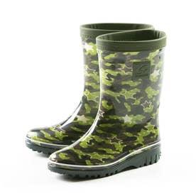 長靴 雨靴 雨 レインブーツ MS RBJ12 子供靴 男の子 防災 靴 ジュニア シンプル カモフラ 星柄 ブラック (カーキ)