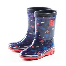 長靴 雨靴 雨 レインブーツ MS RBJ12 子供靴 男の子 防災 靴 ジュニア シンプル カモフラ 星柄 ブラック (ネイビー)