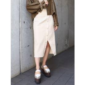 シルバーボタンタイトスカート【セットアップ着用可能】(アイボリー)