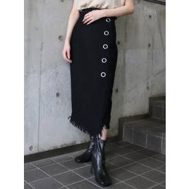フリンジラップスカート(ブラック)