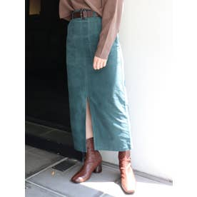 ベルト付コーデュロイスカート(グリーン)