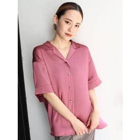 シャイニーオープンカラーシャツ(ピンク)