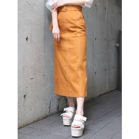 スリムステッチペンシルスカート(オレンジ)
