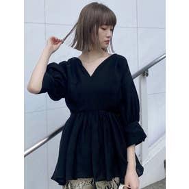 シアーカシュクールシャツ(ブラック)