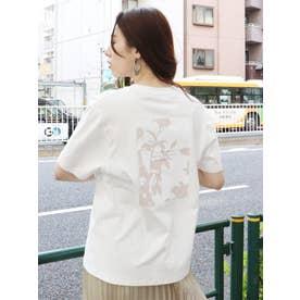 シャドーフラワープリントTシャツ(ホワイト)