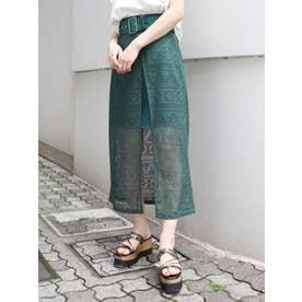 ボーダーレースラップスカート(グリーン)