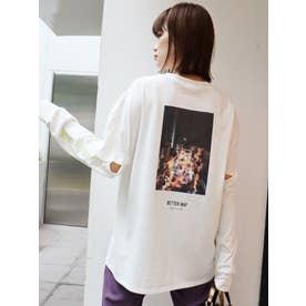 スリーブカットロングスリーブTシャツ(ホワイト)