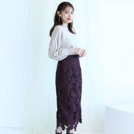配色レースタイトスカート (ブラウン)