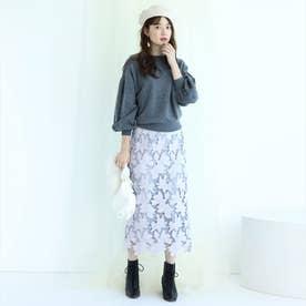 配色レースタイトスカート (ラベンダー)