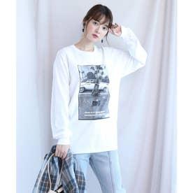 プリントロングTシャツ (白)