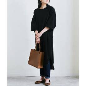 春色裏シャギー裾ラウンドワンピース SS (ブラック(02))