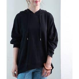デザインポケット裏毛プルパーカー SS ルームウェア (ブラック(02))