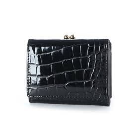 tianda クロコ風型押エナメルガマ口三つ折り財布 (ブラック)