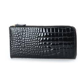 tianda クロコ風型押エナメルL字長財布 (ブラック)