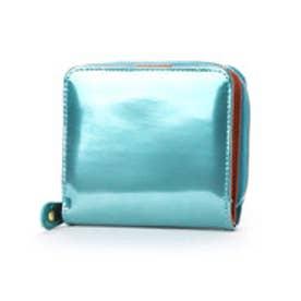sparkling メタリックレザーラウンド二つ折り財布 (ターコイズ)