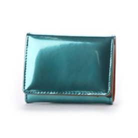 sparkling メタリックレザー三つ折りミニ財布 (ターコイズ)