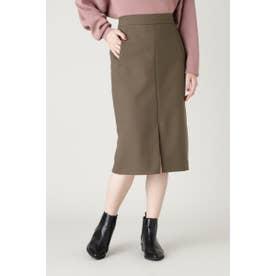 ダブルクロスポケットタイトスカート ブラウン