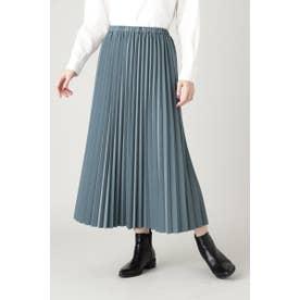 フェイクレザープリーツスカート ブルー