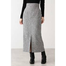 ツイードスリットタイトスカート グレーMIX1