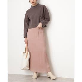 シャイニーAラインマキシスカート ピンク