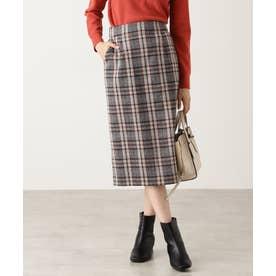 ジュネスチェックタイトスカート ベージュベースチェック1