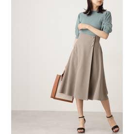 サイドボタンフレアスカート《S Size Line》 モカベージュ