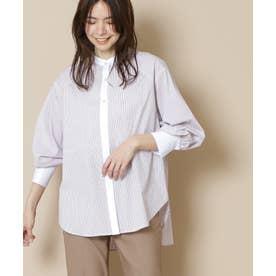 バックペプラムバンドカラーシャツ ピンクストライプ1