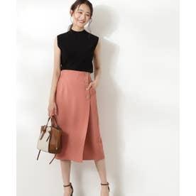 ゴールドボタンラップスカート ピンク