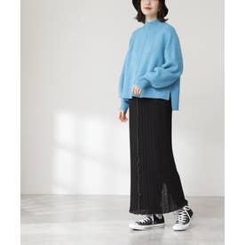 カットプリーツタイトスカート ブラック