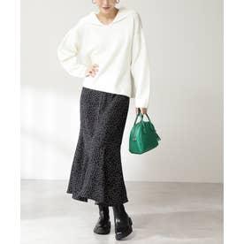 プリントペプラムスカート ブラックベースドット1