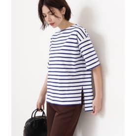 スリットボーダーTシャツ シロ×ブルー1