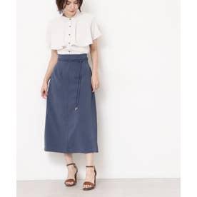 ロープベルトAラインフレアスカート ブルー
