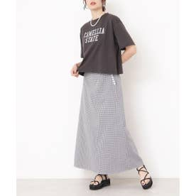 サイドボタンAラインスカート ブラック柄1