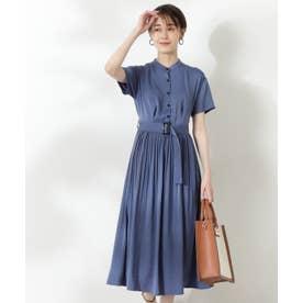 半袖プリーツシャツワンピース《S Size Line》 ブルー