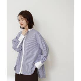 バックペプラムバンドカラーシャツ ブルーストライプ1