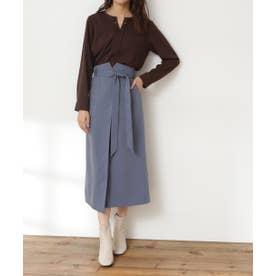リボンベルトポケットスカート《S Size Line》 ブルー