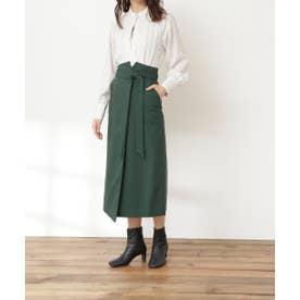 リボンベルトポケットスカート《S Size Line》 グリーン