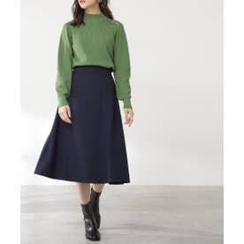 ウエストステッチフレアスカート《S Size Line》 ネイビー