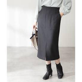 カルゼストレッチタイトスカート《S Size Line》 チャコール1