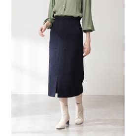 カルゼストレッチタイトスカート《S Size Line》 ネイビー