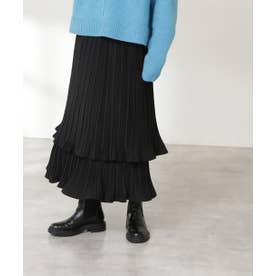 ティアードプリーツスカート ブラック