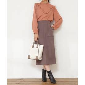 フロントスリットタイトスカート《S Size Line》 モカ