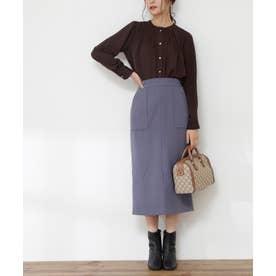 フロントスリットタイトスカート《S Size Line》 ブルー